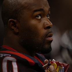 August 21, 2010; New Orleans, LA, USA; Houston Texans defensive end Mario Williams (90) watches from the sideline during the second half of a 38-20 win by the New Orleans Saints over the Houston Texans during a preseason game at the Louisiana Superdome. Mandatory Credit: Derick E. Hingle