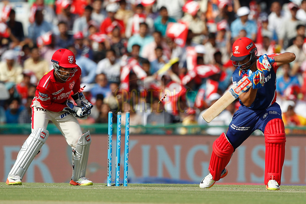 Delhi Daredevils captain Karun Nair is bowled by Akshar Patel of Kings XI Punjab during match 36 of the Vivo 2017 Indian Premier League between the Kings XI Punjab and the Delhi Daredevils  held at the Punjab Cricket Association IS Bindra Stadium in Mohali, India on the 30th April 2017<br /> <br /> Photo by Deepak Malik - Sportzpics - IPL