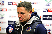 Shrewsbury Town Manager Paul Hurst in the post match Press Room during the EFL Sky Bet League 1 match between Scunthorpe United and Shrewsbury Town at Glanford Park, Scunthorpe, England on 17 March 2018. Picture by Mick Atkins.