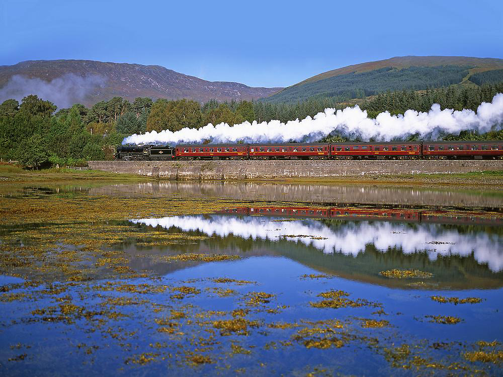 Black 5 passes along the shore of Loch Eil,Mallaig - Fort William railway