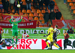 MOSCOW, RUSSIA - Thursday, November 8, 2012: Liverpool's goalkeeper Brad Jones is beaten by FC Anji Makhachkala's Lacina Traore for the opening goal during the UEFA Europa League Group A match at the Lokomotiv Stadium. (Pic by David Rawcliffe/Propaganda)