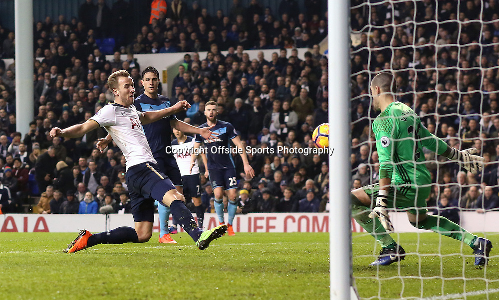 4 February 2017 - Premier League Football - Tottenham Hotspur v Middlesbrough<br /> Harry Kane of Tottenham has a shot but it is ruled offside<br /> Photo: Charlotte Wilson
