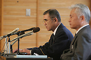 On left SuperIntendent of Chiba Police Seikichi Kogo, and on right SuperIntendent and head of First Investigation Division Yoshihiro Sugita, at the police press conference announcing the first details of the murder of Lindsay Ann Hawker.  Lindsay Ann hawker (22yrs, British) was found dead on Monday night, 26th March, by Tokyo police, buried in a bath tub of sand on the apartment balcony of a friend, Tatsuya Ichihashi 28yrs. Ichishashi is now wanted by the police on suspicion of murder and illegally hiding a body. , Tokyo, Japan. Tuesday, Mar. 27, 2007.