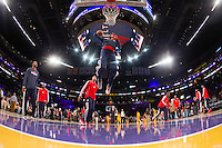 22 March 2013: Guard (2) John Wall of the Washington Wizards warms up before playing against the Los Angeles Lakers before the Wizards 103-100 victory over the Los Angeles Lakers at the STAPLES Center in Los Angeles, CA.