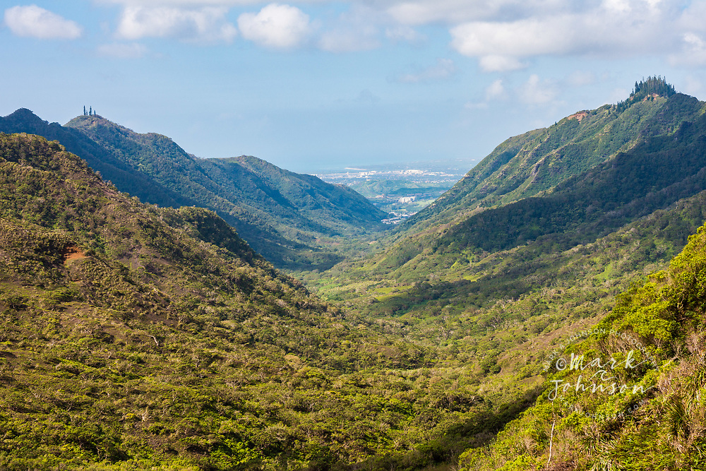 Looking down Moanalua Valley towards Honolulu, Oahu, Hawaii
