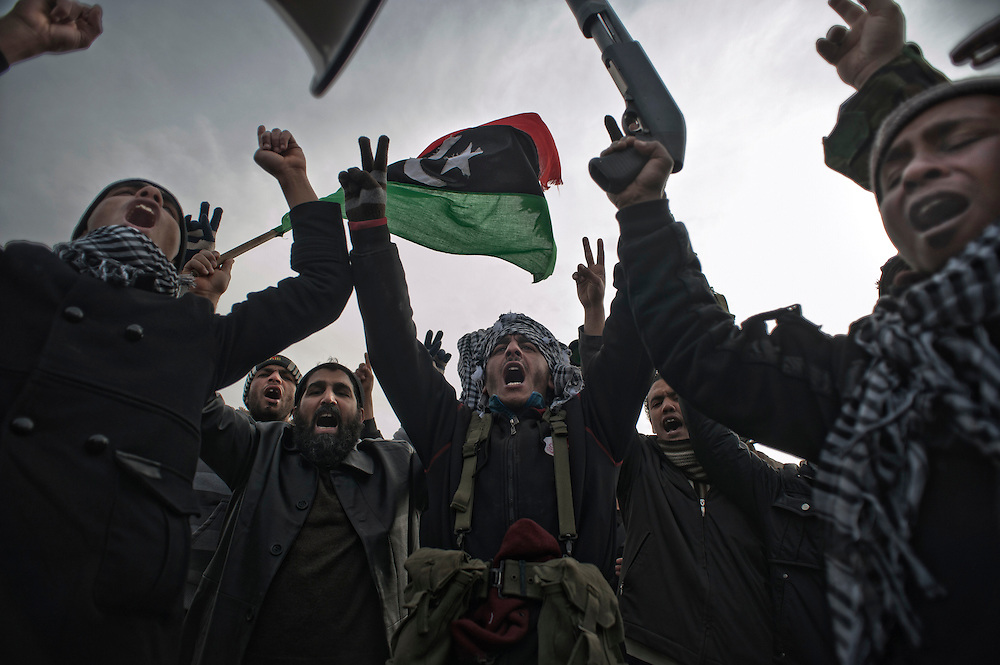 Rebel's outburst of joy on the frontline during the battle of Ras Lanuf. Ras Lanuf, Libya - march 10th 2011.