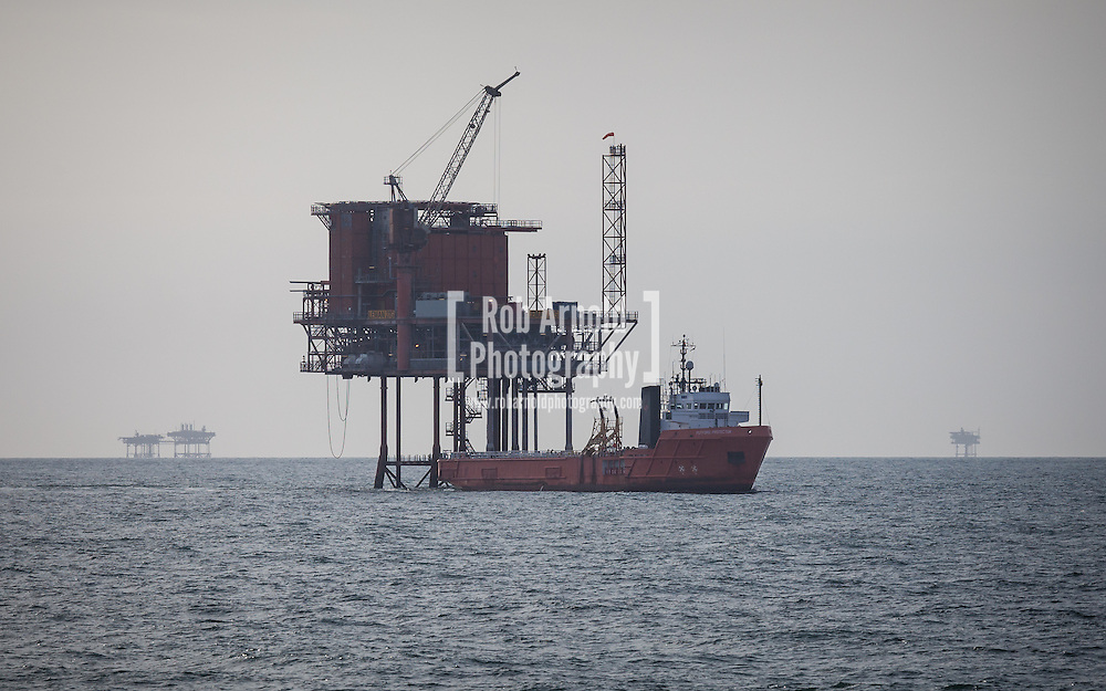 Leman 27G Platform in the Southern North Sea, UK Sector with the Putford Protector standby vessel.
