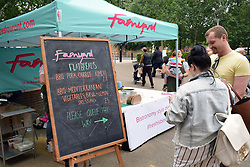 Norwich Food & Drink Festival taking place in and around The Forum, 17 June 2018. Norwich UK. Farmyard, a local restaurant, stall