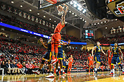 LUBBOCK, TX - JANUARY 13: Keenan Evans #12 of the Texas Tech Red Raiders dunks against Esa Ahmad #23 of the West Virginia Mountaineers during the game on January 13, 2018 at United Supermarket Arena in Lubbock, Texas. Texas Tech defeated West Virginia 72-71. (Photo by John Weast/Getty Images) *** Local Caption *** Keenan Evans;Esa Ahmad