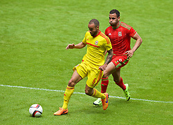 CARDIFF, WALES - Friday, June 5, 2015: Wales' Ashley 'Jazz' Richards and Hal Robson-Kanu during a practice match at the Cardiff City Stadium ahead of the UEFA Euro 2016 Qualifying Round Group B match against Belgium. (Pic by David Rawcliffe/Propaganda)