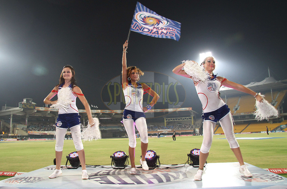 Cheerleaders perform during the 2nd Semi Final of the NOKIA Champions League T20 ( CLT20 ) between Somerset and the Mumbai Indians held at the M. A. Chidambaram Stadium in Chennai , Tamil Nadu, India on the 8th October 2011..Photo by Shaun Roy/BCCI/SPORTZPICS