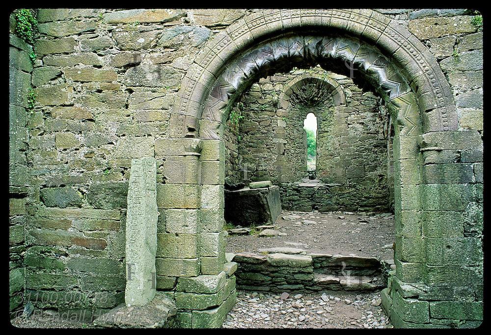 Pillar with Latin alphabet in Romanesque Kilmalkedar Church was a teaching tool; Dingle Peninsula. Ireland
