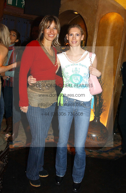 Left to right, MAYA FIENNES and MISS AMARYLLIS FRASER at a party to launch Riggid - T-shirt Couture held at Momo's Kemia Bar, 25 Heddon Street, London W1 on 18th November 2004.<br /><br />NON EXCLUSIVE - WORLD RIGHTS