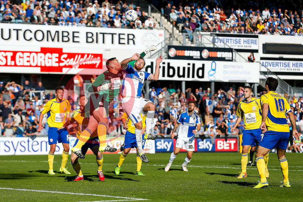 Jason Mooney of Accrington Stanley and Ollie Clarke of Bristol Rovers compete in the air - Mandatory byline: Rogan Thomson/JMP - 07966 386802 - 12/09/2015 - FOOTBALL - Memorial Stadium - Bristol, England - Bristol Rovers v Accrington Stanley - Sky Bet League 2.
