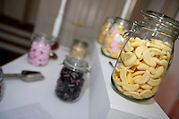 Close-up view of confectionary in glass jars