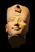 Head from Osiride Statues, originally positioned in the Upper Court Niches, Dynasty 18, joint reign of Hatshepsut and Thutmose 111 (ca 1473-1458 B.C.) Painted limestone.