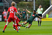 Jake Jervis (14) of Plymouth Argyle makes a tackle on Jordan Clark (7) of Accrington Stanley during the EFL Sky Bet League 2 match between Plymouth Argyle and Accrington Stanley at Home Park, Plymouth, England on 1 April 2017. Photo by Graham Hunt.