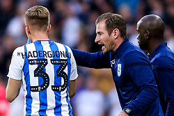 Huddersfield Town manager Jan Siewert talks to Florent Hadergjonaj of Huddersfield Town - Mandatory by-line: Robbie Stephenson/JMP - 05/08/2019 - FOOTBALL - The John Smith's Stadium - Huddersfield, England - Huddersfield Town v Derby County - Sky Bet Championship