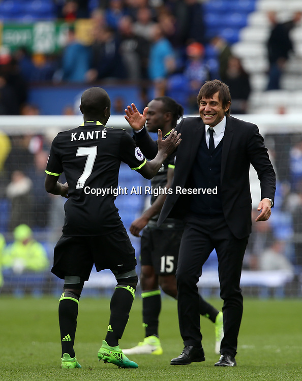 April 30th 2017, Goodison Park, Liverpool, England; EPL Premier league football, Everton versus Chelsea;  A delighted Antonio Conte , Chelsea manager with Ngolo Kante of Chelsea at the final whistle