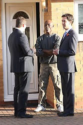 Ed Miliband MP, Leader of the Opposition with candidate Andy Sawford talk to residents of Great Oakley, Corby, Northamptonshire, October 30, 2012.  Photo By Tim Scrivener / i-Images