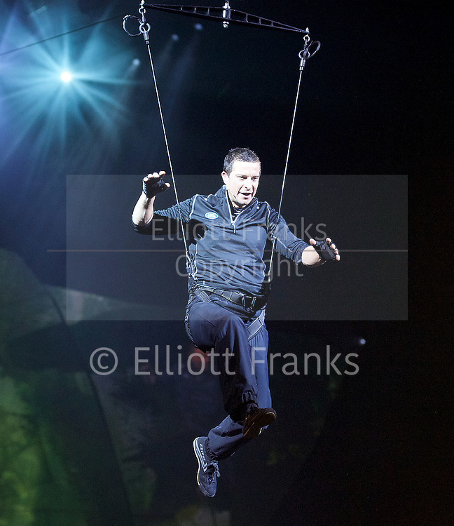 Bear Grylls <br /> live show 'Endeavour' at <br /> Wembley Arena, London, Great Britain <br /> 6th October 2016 <br /> <br /> <br /> Bear Grylls is an Adventurer, writer and TV host<br /> <br /> In partnership with AEG Live and Harvey Goldsmith presented by Land Rover. <br /> <br /> Photograph by Elliott Franks <br /> Image licensed to Elliott Franks Photography Services