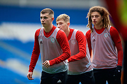 CARDIFF, WALES - Thursday, November 15, 2018: Wales' Ben Woodburn, David Brooks and Ethan Ampadu during a training session at the Cardiff City Stadium ahead of the UEFA Nations League Group Stage League B Group 4 match between Wales and Denmark. (Pic by David Rawcliffe/Propaganda)