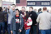 Supporters take a selfie before listening to Senator Marco Rubio speaks during a campaign rally on February 26, 2016 in Dallas, Texas.  (Cooper Neill for The New York Times)