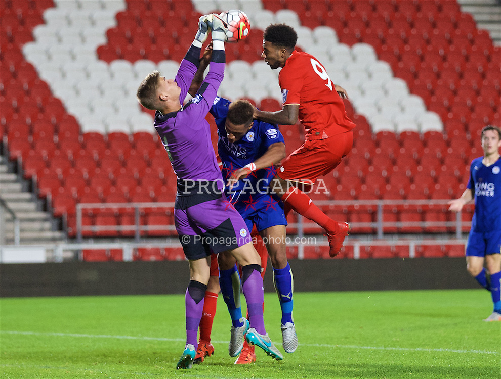 ST HELENS, ENGLAND - Monday, September 28, 2015: Liverpool's Jerome Sinclair challenges Leicester City's goalkeeper John Maddison and Alie Sesay during the Under 21 FA Premier League match at Langtree Park. (Pic by David Rawcliffe/Propaganda)