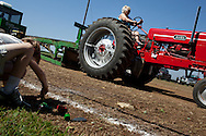 Rose Troth from Pleasanton, KS starts a run on her vintage tractor during a Labor Day tractor pull, Sep. 6, 2010.