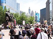An anti-Sharia law demonstration draws a counter protest in Chicago, Illinois