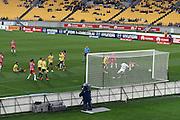 Melbourne City FC's Bruno Fornaroli scores a goal during the Hyundai A-League, Wellington Phoenix vs Melbourne City, Westpac Stadium, Wellington, Saturday 18th February 2017. Copyright Photo: Raghavan Venugopal / www.photosport.nz