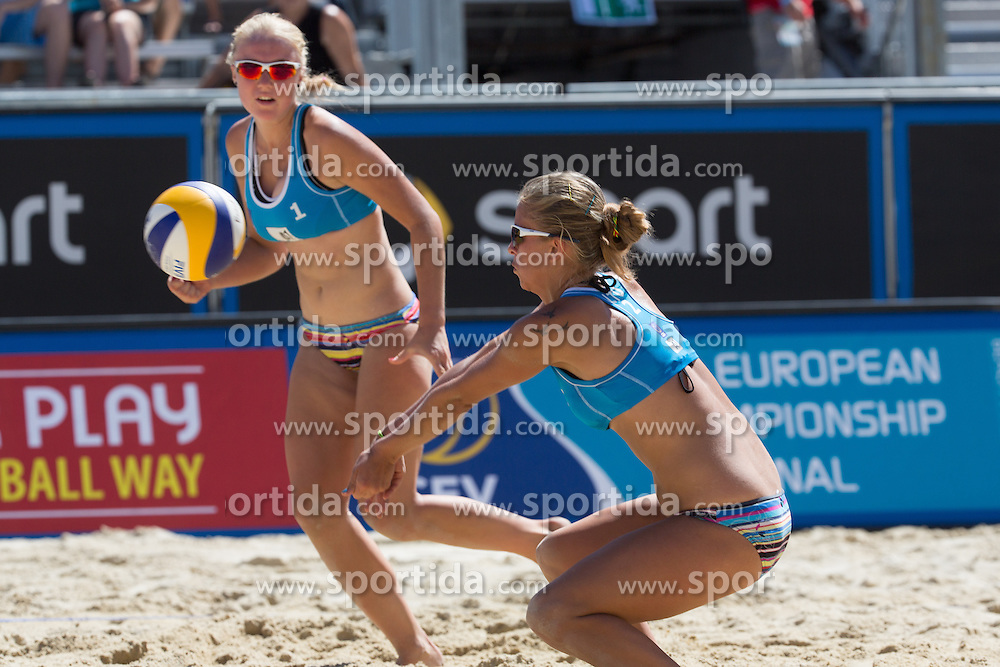 30.07.2013, Klagenfurt, Strandbad, AUT, A1 Beachvolleyball EM 2013, in photo Ieva Dumbauskaite (left) and Monika Povilaityte of Lithuania during the A1 Beachvolleyball European Championship at the Strandbad Klagenfurt, Austria on 20130730. (Photo by Matic Klansek Velej / Sportida)