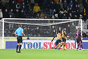 Swansea City goalkeeper Erwin Mulder (25) saves a penalty kick from Hull City forward Fraizer Campbell (25)  during the EFL Sky Bet Championship match between Hull City and Swansea City at the KCOM Stadium, Kingston upon Hull, England on 22 December 2018.
