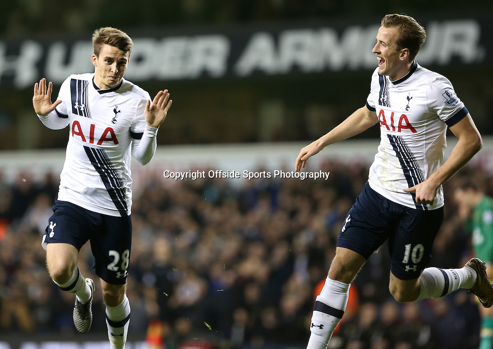 26 December 2015 - Premier League - Tottenham Hotspur v Norwich City<br /> A sheepish Thomas Carroll holds up his hands in disbelief at his goal for Spurs and Harry Kane laughs at his expression as he joins him to celebrate the goal<br /> Photo: Charlotte Wilson / Offside
