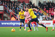 Oxford United midfielder Liam Sercombe makes it 2-1 from the penalty spot during the Sky Bet League 2 match between Stevenage and Oxford United at the Lamex Stadium, Stevenage, England on 31 October 2015. Photo by Jemma Phillips.