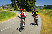 Cyclists in the Totara Valley, Canterbury, South Island, New Zealand