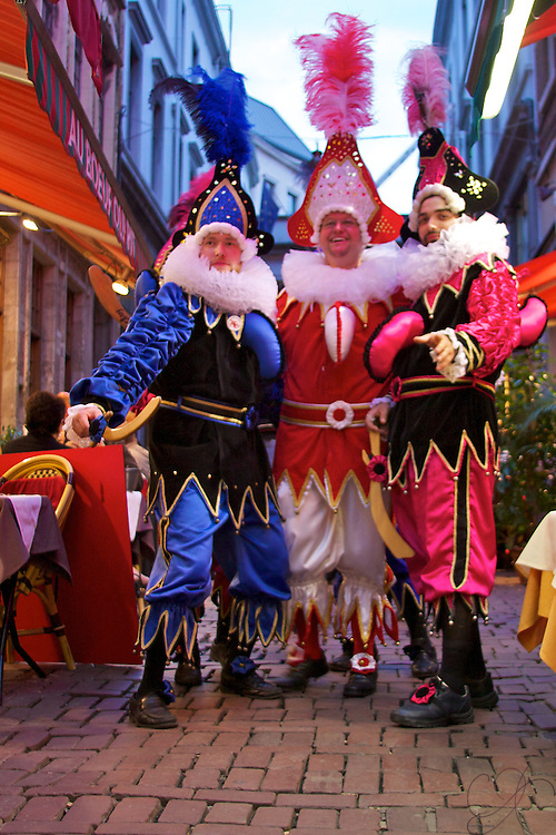Société Royale Les Chinels de Fosses-la-Ville during a celebration through Bruxelles' restaurant row. Chinels are a folk character that are the Kings of carnival in Walloon folklore.