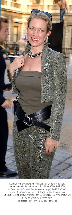 Author FREIDA HUGHES daughter of Ted Hughes, at a party in London on 28th May 2003.PJZ 100