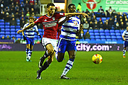 Fulham defender Ryan Fredericks (2) battles with Reading defender Tyler Blackett (24) during the EFL Sky Bet Championship match between Reading and Fulham at the Madejski Stadium, Reading, England on 24 January 2017. Photo by Jon Bromley.