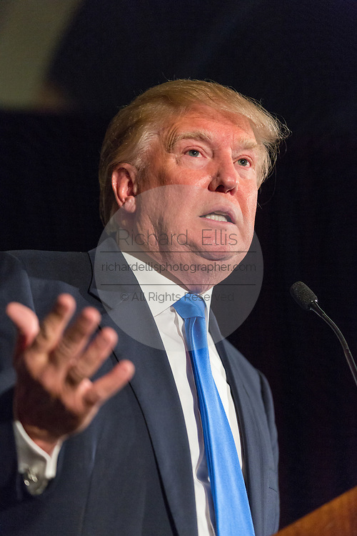 Billionaire and GOP Presidential hopeful Donald Trump addresses the Republican Society Patriot Dinner at the Citadel Military College February 22, 2015 in Charleston, South Carolina. Trump and Senator Tim Scott were honored at the annual event.