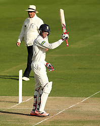 Durham's Keaton Jennings lifts his bat after scoring fifty - Photo mandatory by-line: Robbie Stephenson/JMP - Mobile: 07966 386802 - 03/05/2015 - SPORT - Football - London - Lords  - Middlesex CCC v Durham CCC - County Championship Division One