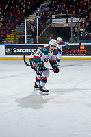 KELOWNA, CANADA - MARCH 3:  Kyle Crosbie #25 of the Kelowna Rockets skates against the Portland Winterhawks on March 3, 2019 at Prospera Place in Kelowna, British Columbia, Canada.  (Photo by Marissa Baecker/Shoot the Breeze)