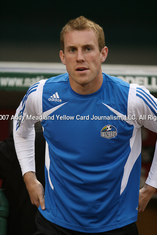 14 April 2007: Kansas City's Tyson Wahl.  DC United lost 4-2 to the Kansas City Wizards at RFK Stadium in Washington, DC in their Major League Soccer 2007 regular season home opener.
