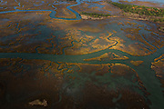 Aerial view of the winter marsh in Charleston, SC.