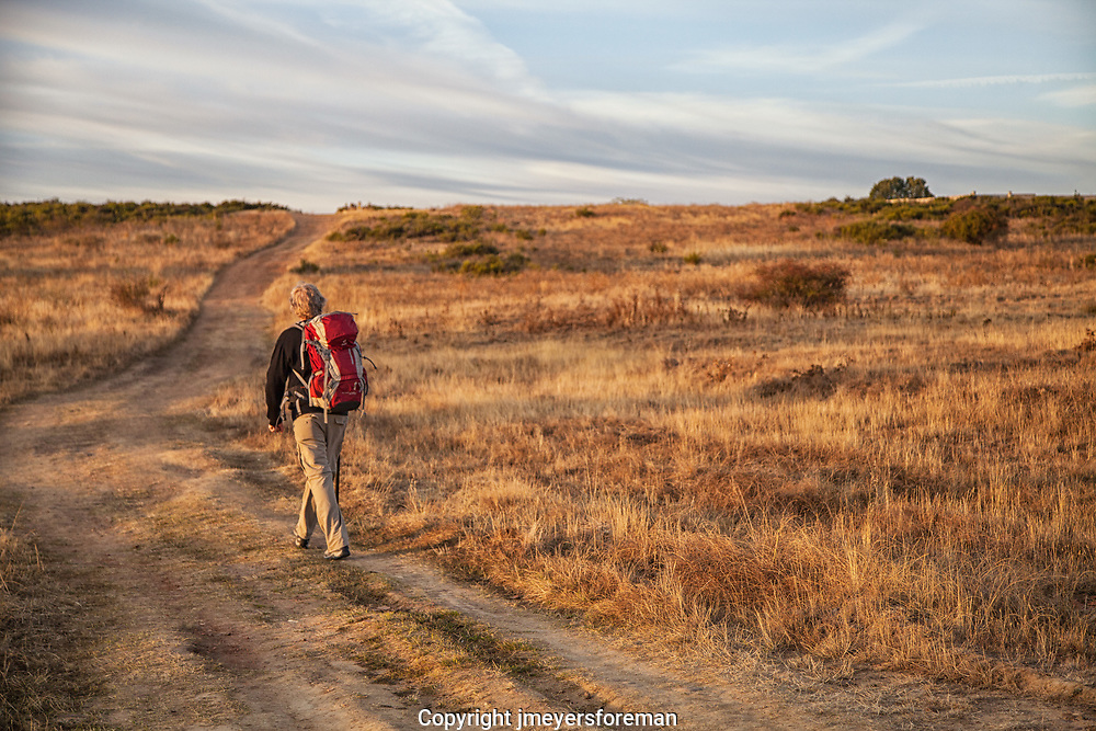 pilgrim walking the Camino de Compostela, Spain. Leaving Leon Spain and walking the meseta
