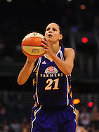 June 4, 2010; Phoenix, AZ, USA; Los Angeles Sparks guard Tisha Penicheiro shoots a free throw against the Phoenix Mercury during the first half at US Airways Center.  The Mercury defeated the Sparks 90-89.  Mandatory Credit: Jennifer Stewart-US PRESSWIRE