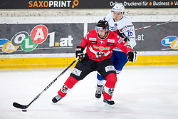 13.02.2016, Olympiaworld, Innsbruck, AUT, Euro Ice Hockey Challenge, Österreich vs Frankreich, im Bild Robert Lembacher (AUT) und Florian Douay (FRA) // Robert Lembacher of Austria and Florian Douay of France during the Euro Icehockey Challenge Match between Austria and France at the Olympiaworld in Innsbruck, Austria on 2016/02/13. EXPA Pictures © 2016, PhotoCredit: EXPA/ Jakob Gruber