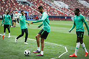 Salman Al-Faraj and Abdulmalek Al Khaibri of Saudi Arabia during the Saudi Arabia training session on June 13, 2018 the day before the opening match of the 2018 FIFA World Cup Russia, Group A football match between Russia and Saudi Arabia at Luzhniki Stadium in Moscow, Russia - Photo Thiago Bernardes / FramePhoto / ProSportsImages / DPPI