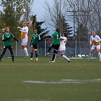5th year defender Racquel Marshall (15) of the Regina Cougars in action during the Women's Soccer home game on October 7 at U of R Field. Credit: Arthur Ward/Arthur Images