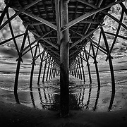 Under the Folly Beach Pier in Folly Beach South Carolina.